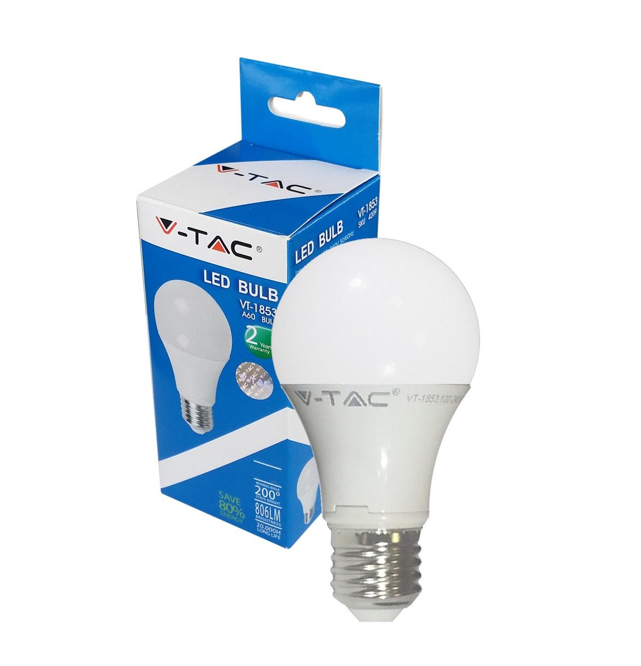 lampadina led e27 10w bulbo a60 v tac vt 1853 lampadina led e27 da 10w ...