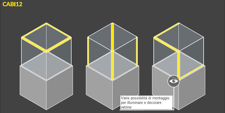 esempi di montaggio in vetrina della barra led cabi12