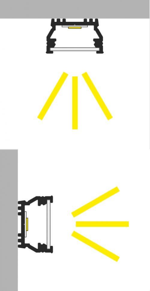 angolazione luce profilo led piatto 12mm