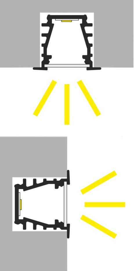 Apertura luce profilo led alluminio da incasso