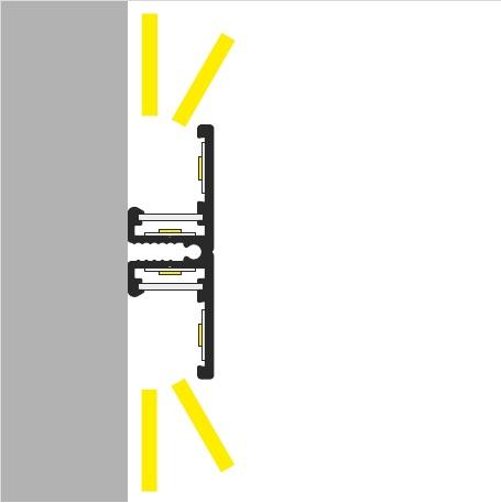 Apertura luce profilo led parete