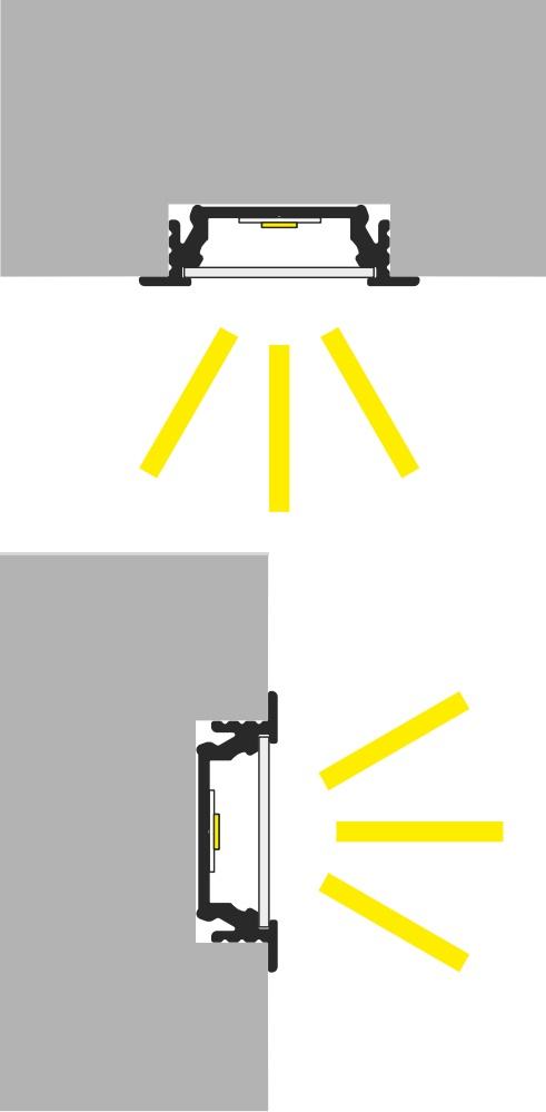Apertura luce profilo led pavimento