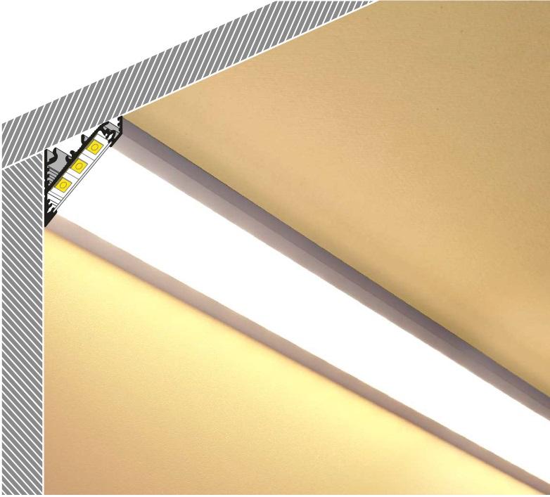 Profilo angolare strisce led corner27 vendita illuminazione - Strisce a led per interni ...