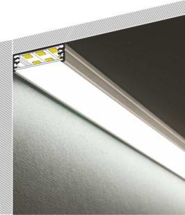 Profilo Led da sottopensile in alluminio WIDE + Kit montaggio