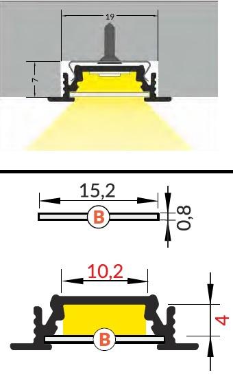 dimensioni profilo led da soffitto groove