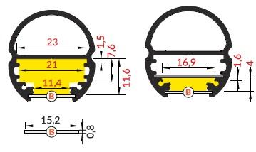 dimensioni profilo led oval
