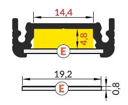 dimensioni profilo led surface 14