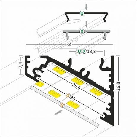 Misure profilo angolare strisce led