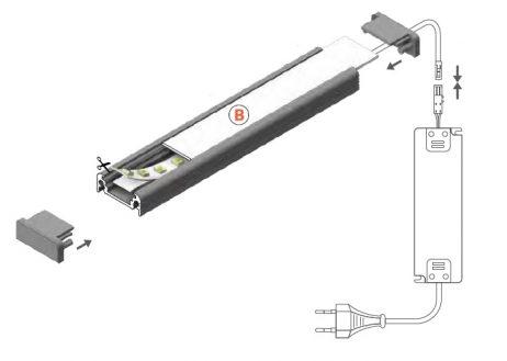 montaggio profilo led surface