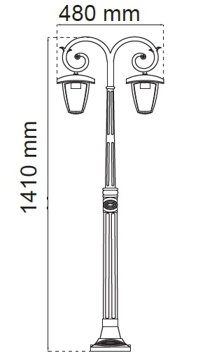 lampione led a due lampade misure
