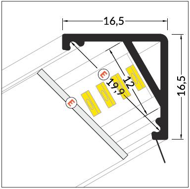 barra led angolare misure
