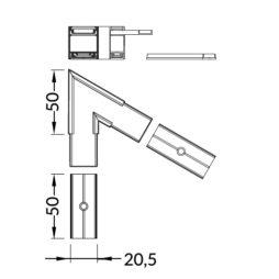 Connettore angolare 60 gradi per barra linea20