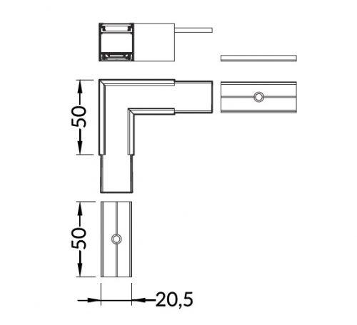 connettore angolare 90 gradi per barra led linea20