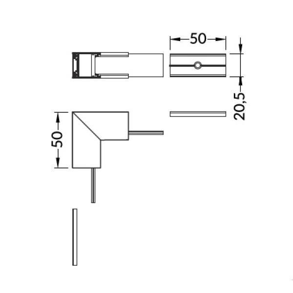 connettore angolare led 90 gradi linea20