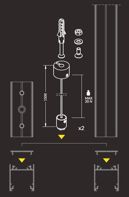kit montaggio a sospensione linea20