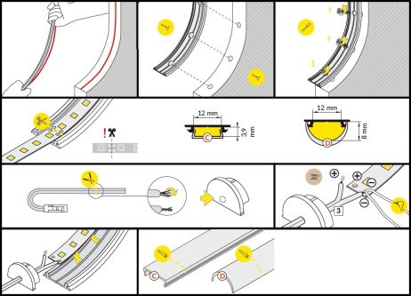 Montaggio profilo led flessibile arc12