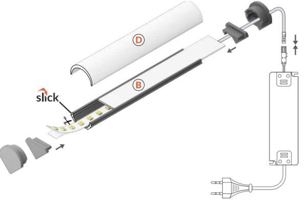 montaggio profilo led alluminio 45