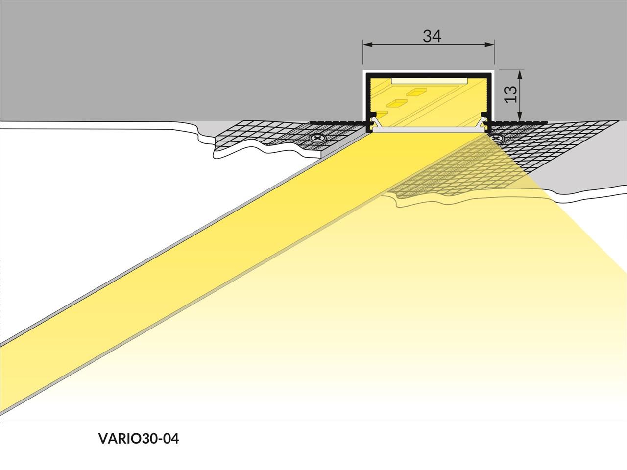 Striscia a led per cartongesso wall profilo ad incasso for Profilo alluminio led leroy merlin