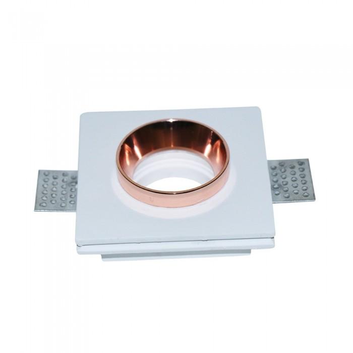 Portafaretto LED da Incasso Quadrato Corpo in Gesso Bianco e Metallo Rosa Dorato – SKU 3150