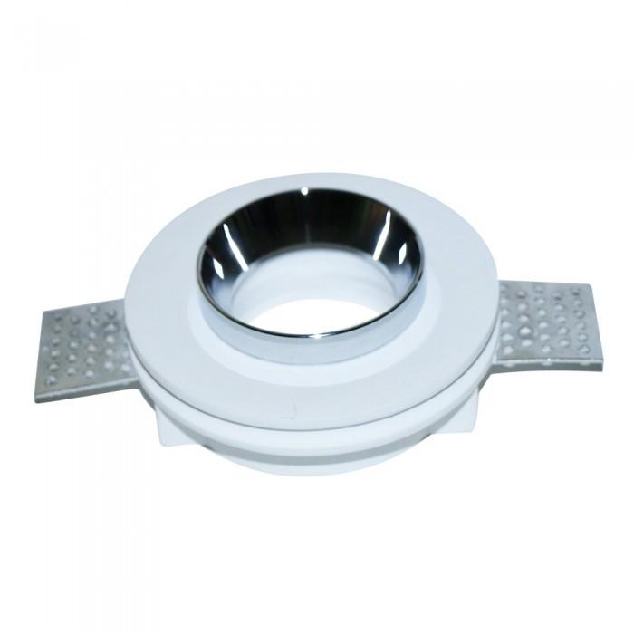 Portafaretto LED da Incasso Rotondo GU10 (MR16) Corpo in Gesso Bianco e Metallo Cromato