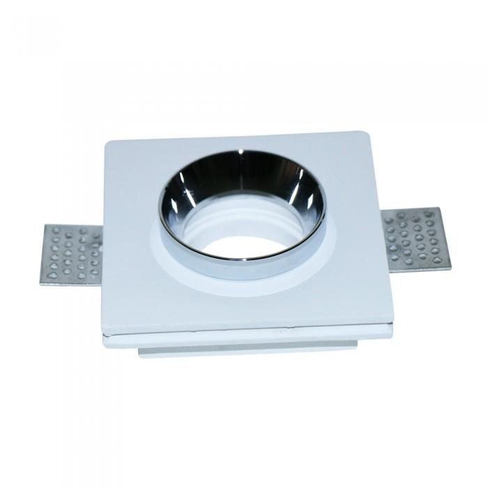 SKU 3149 – Portafaretto LED da Incasso Quadrato GU10 Corpo in Gesso Bianco e Metallo Cromato
