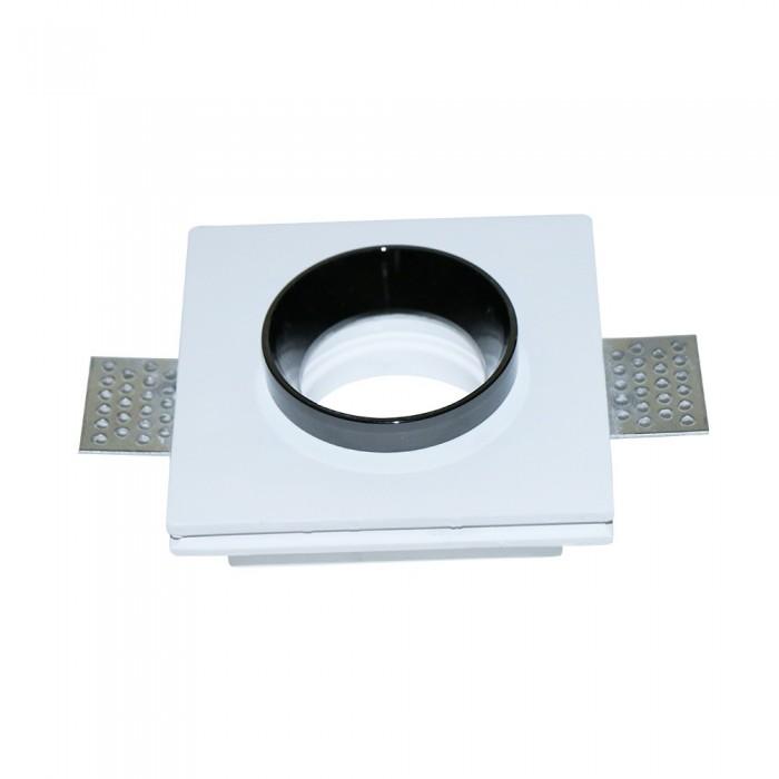 V-TAC VT-866 Portafaretto LED da Incasso Quadrato Corpo in Gesso Bianco e Metallo Nero – SKU 3148