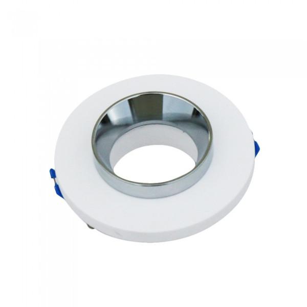 VT-862-CRD faretto led rotondo in gesso bianco e anello cromato