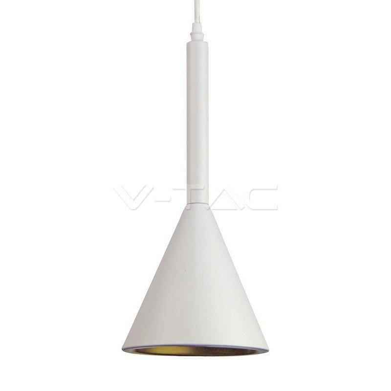 VT-7162-WH Lampadario LED a Cono in Metallo Satinato con Portalampada E27