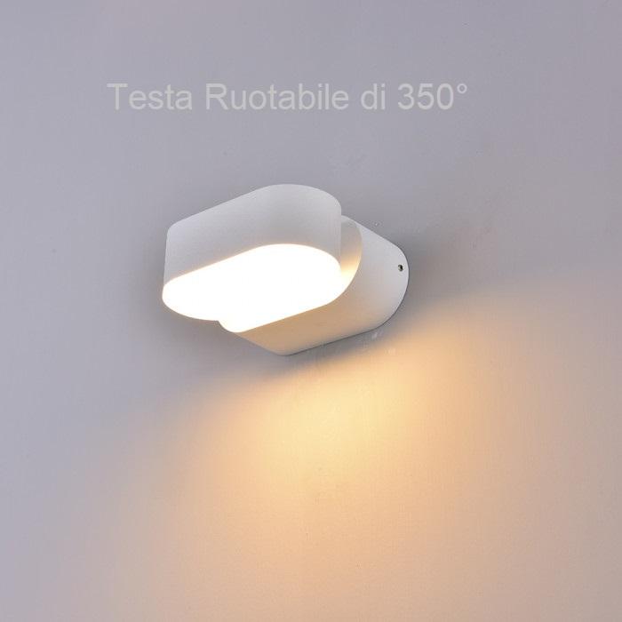VT-816 Lampada LED da Muro Ovale 6W Colore Bianco con Testa Ruotabile