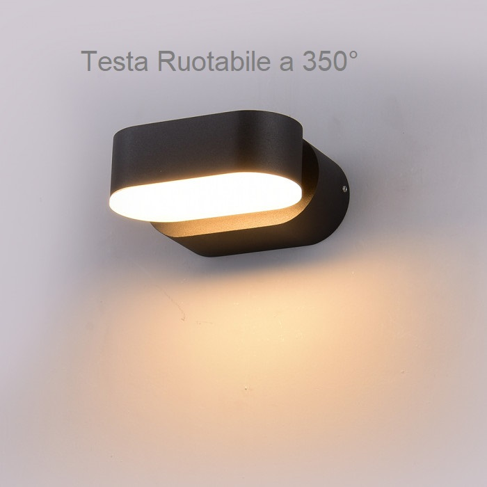 VT-816 Lampada LED da Muro Ovale 6W Colore Nero con Testa Ruotabile